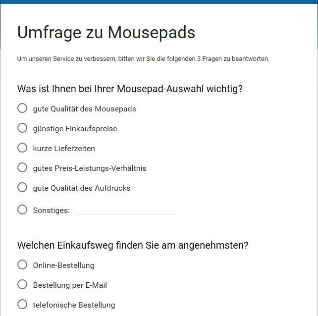 Umfrage zu Mousepads