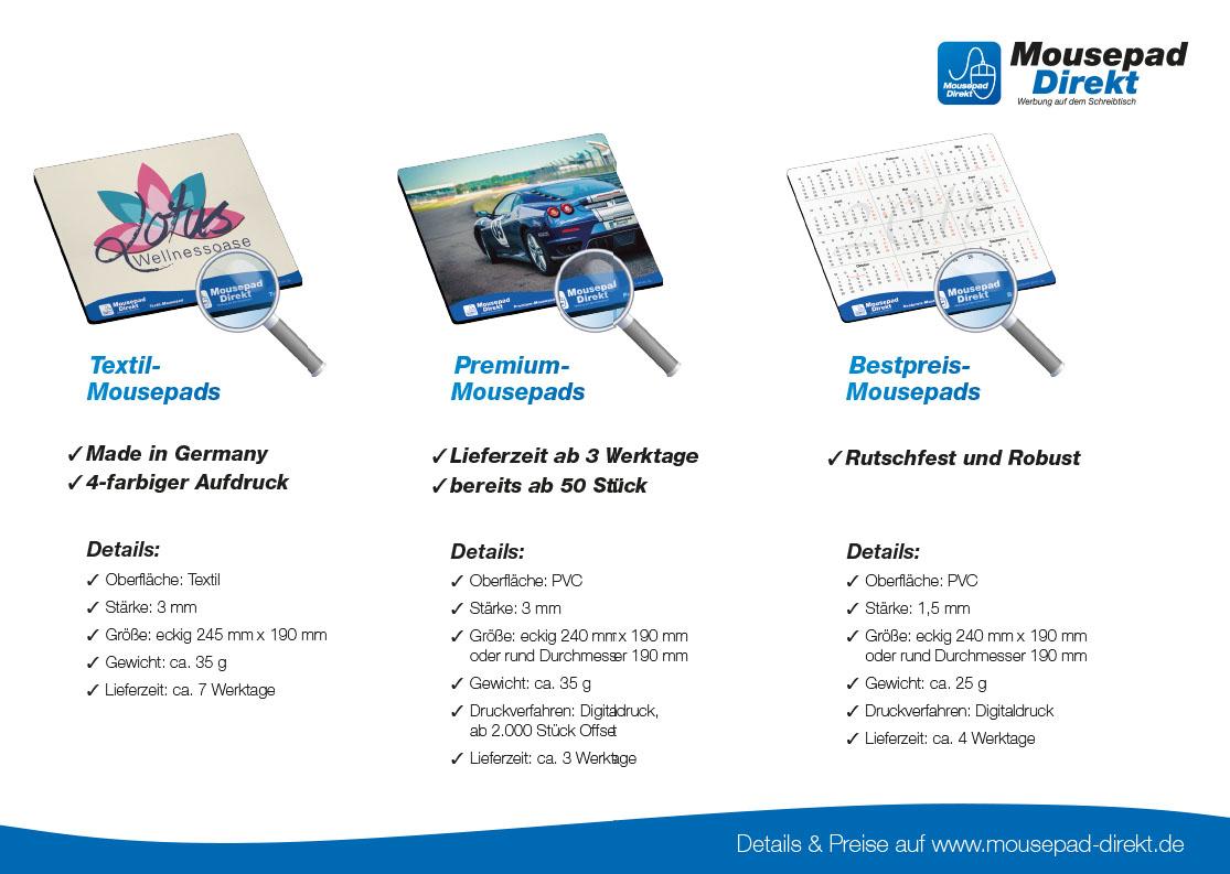 2 Seiten Broschüre Mousepad